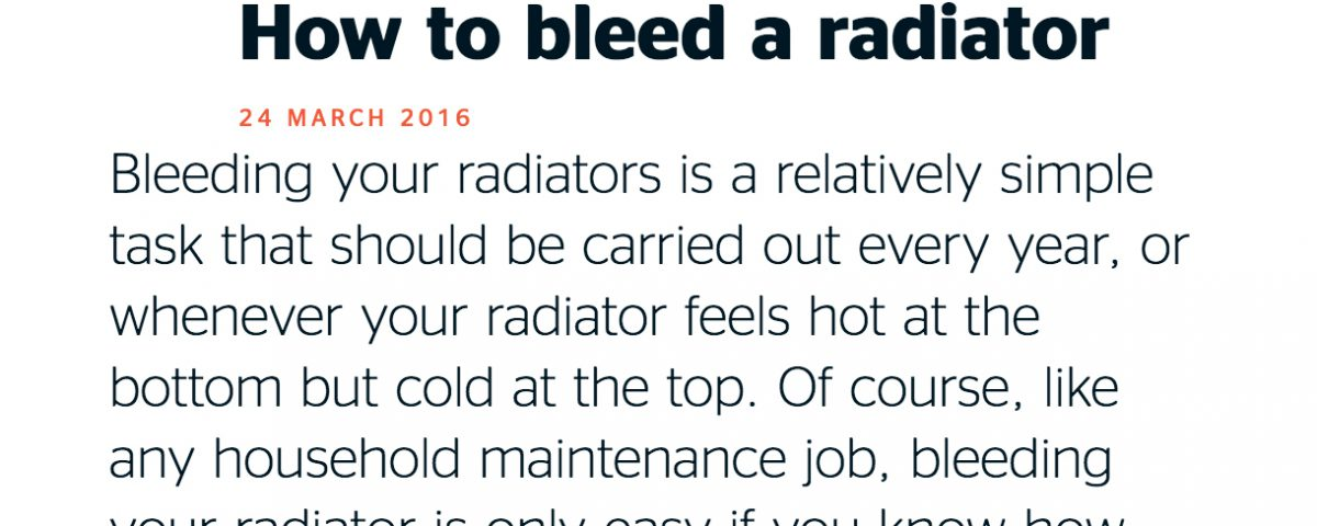 South London Heating Which? Trusted Traders How to Bleed a Radiator